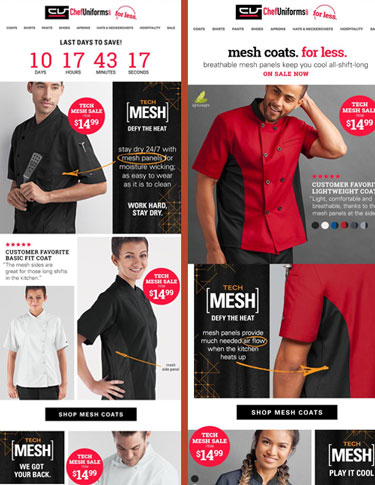 Chef Uniforms Emails