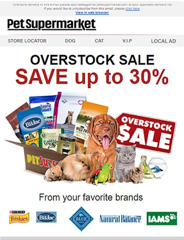 Pet Supermarket Responsive Email